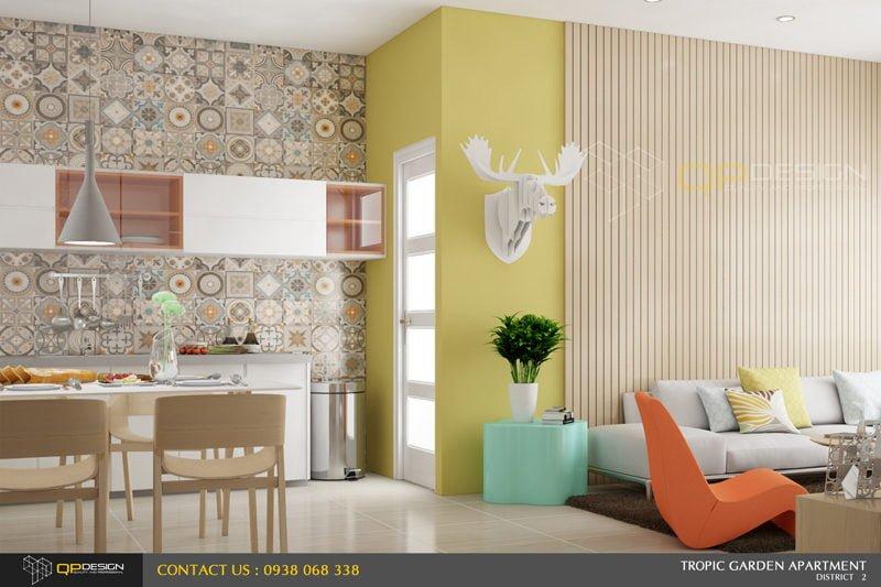 thiết kế nội thất căn hộ chung cư Tropic Garden 1