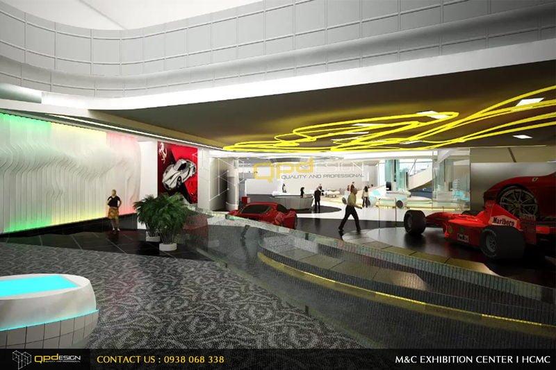 nội thất showroom xe thể thao ferrari tại khu phức hợp m&c