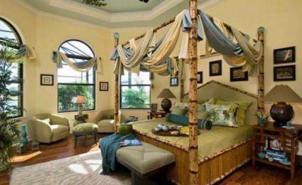 Giường tre mộc mạc cho phòng ngủ đẹp