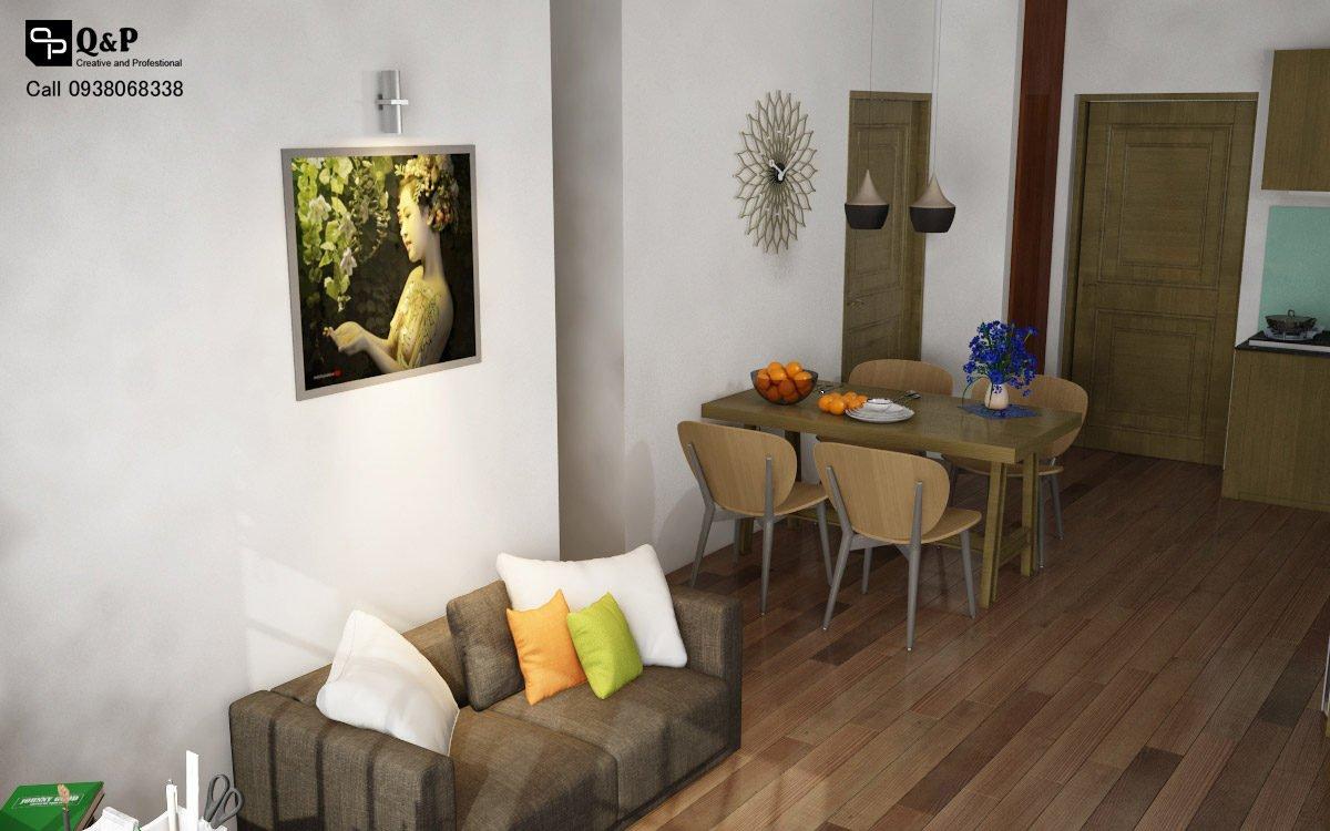 phong khach bep phong an 2 Cải tạo nội thất căn hộ chung cư Ehome 2   Anh Bình qpdesign