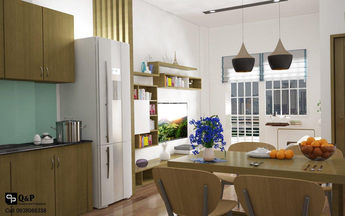 phong khach bep phong an Cải tạo nội thất căn hộ chung cư Ehome 2   Anh Bình qpdesign