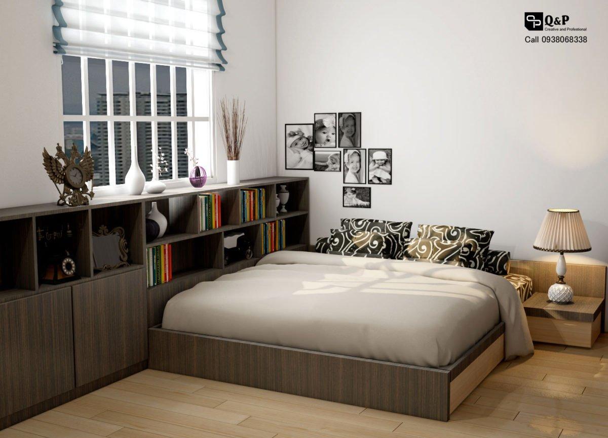 phong ngu 2 Cải tạo nội thất căn hộ chung cư Ehome 2   Anh Bình qpdesign