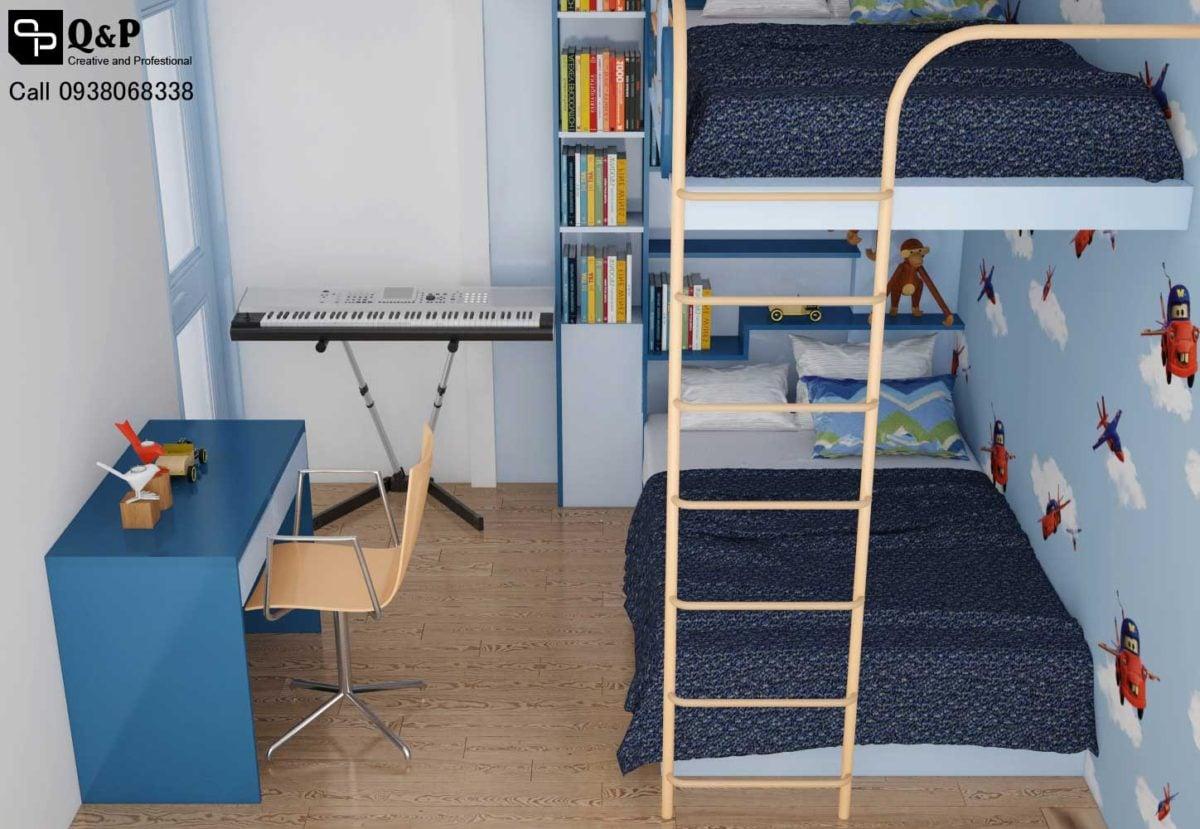 phong ngu con 1 Cải tạo nội thất căn hộ chung cư Ehome 2   Anh Bình qpdesign