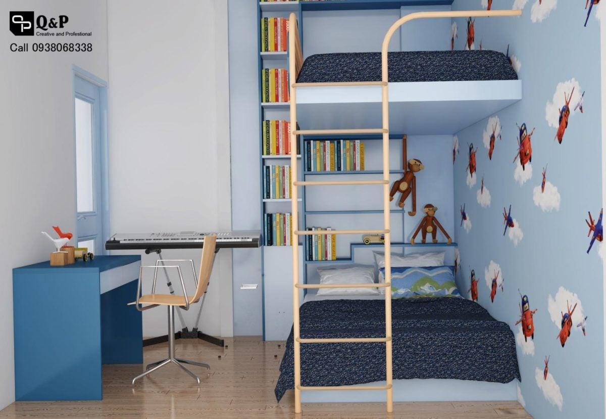 phong ngu con Cải tạo nội thất căn hộ chung cư Ehome 2   Anh Bình qpdesign