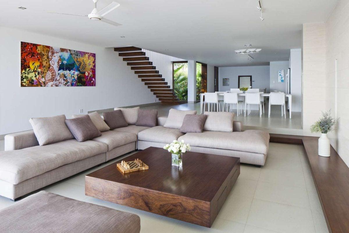 plush luxury living room design Oceanique, dự án biệt thự sát biển. qpdesign