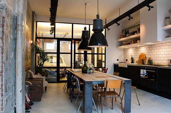 phong an 1 15 mẫu phòng ăn theo phong cách công nghiệp ( LOFT STYLE ) qpdesign