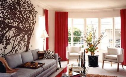 Trang trí phòng khách với nội thất mang sắc đỏ