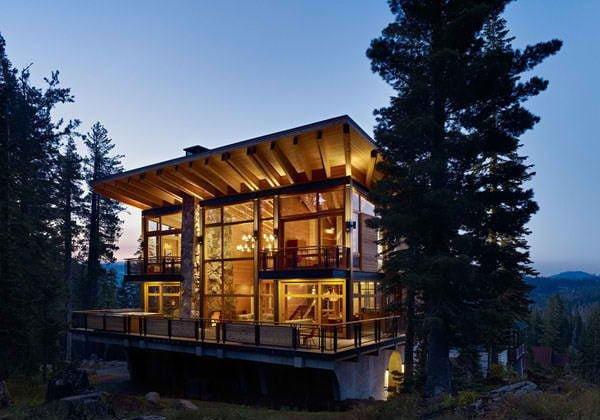 biet thu 3 Cabin trên đỉnh núi tại California. qpdesign