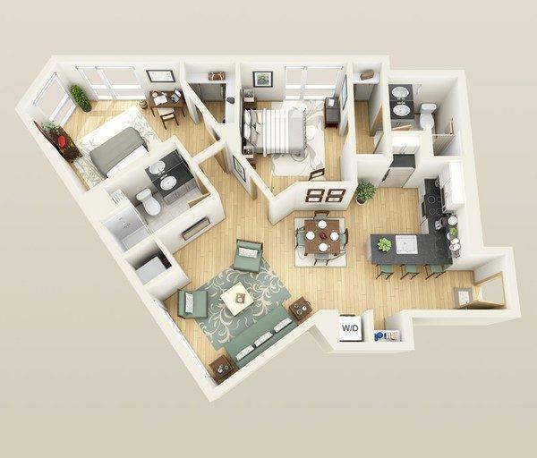 can ho chung cu 23 5 giải pháp bố trí cực hay cho căn hộ xéo qpdesign