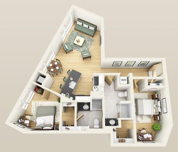 5 giải pháp bố trí cực hay cho căn hộ xéo