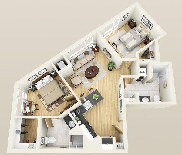 can ho chung cu 42 5 giải pháp bố trí cực hay cho căn hộ xéo qpdesign