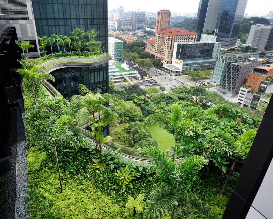 kiến trúc xanh của khách sạn tại singapore