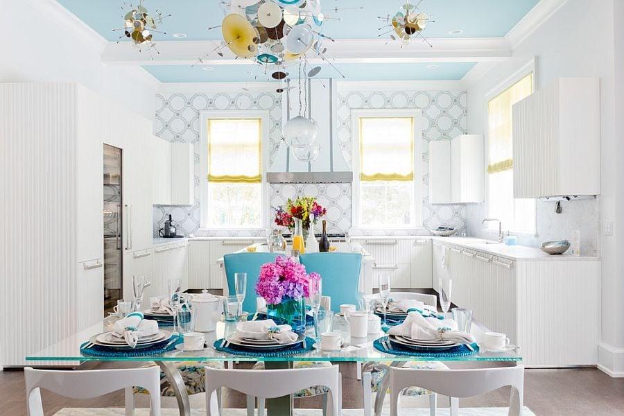 phoi mau noi that 10 Cách phối màu xanh dương trong nội thất phòng ăn qpdesign