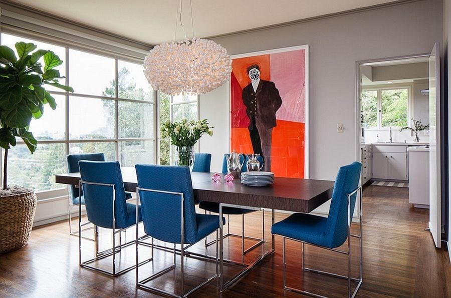 phoi mau noi that 17 Cách phối màu xanh dương trong nội thất phòng ăn qpdesign