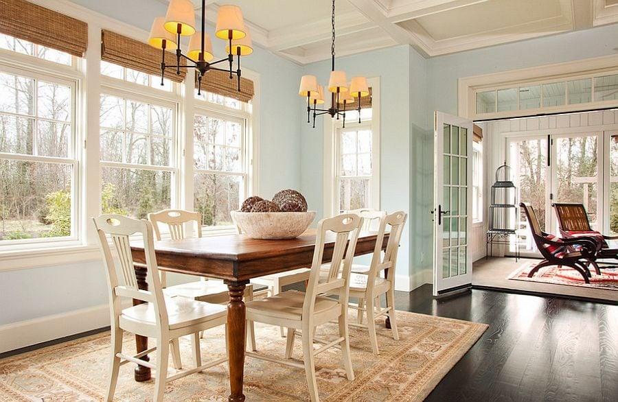 phoi mau noi that 18 Cách phối màu xanh dương trong nội thất phòng ăn qpdesign