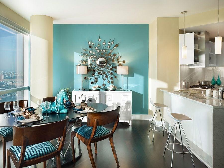 phoi mau noi that 2 Cách phối màu xanh dương trong nội thất phòng ăn qpdesign