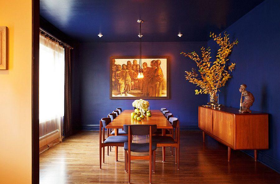 phoi mau noi that 5 Cách phối màu xanh dương trong nội thất phòng ăn qpdesign