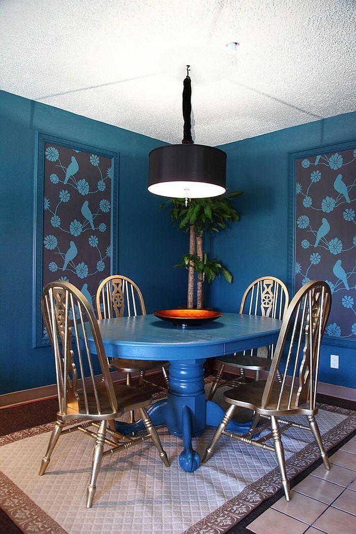 phoi mau noi that 6 Cách phối màu xanh dương trong nội thất phòng ăn qpdesign