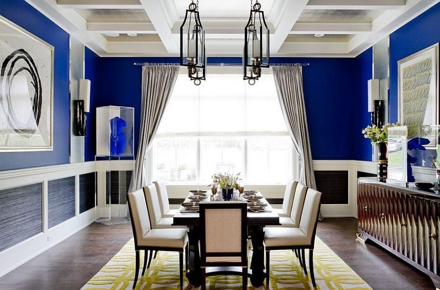 phoi mau noi that 7 Cách phối màu xanh dương trong nội thất phòng ăn qpdesign