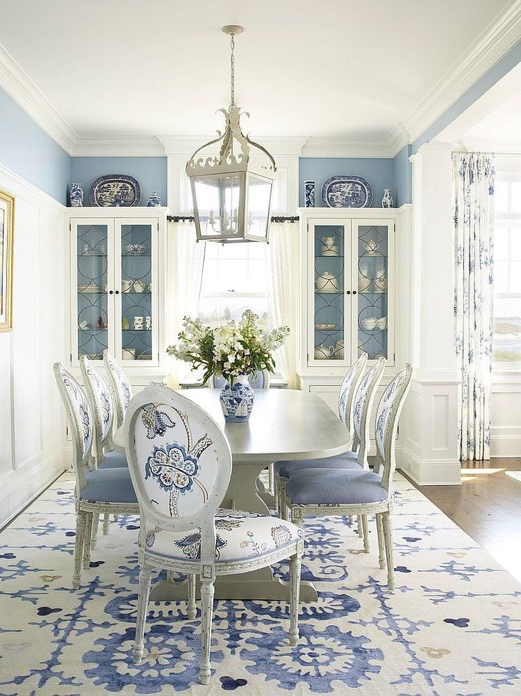 phoi mau noi that 9 Cách phối màu xanh dương trong nội thất phòng ăn qpdesign