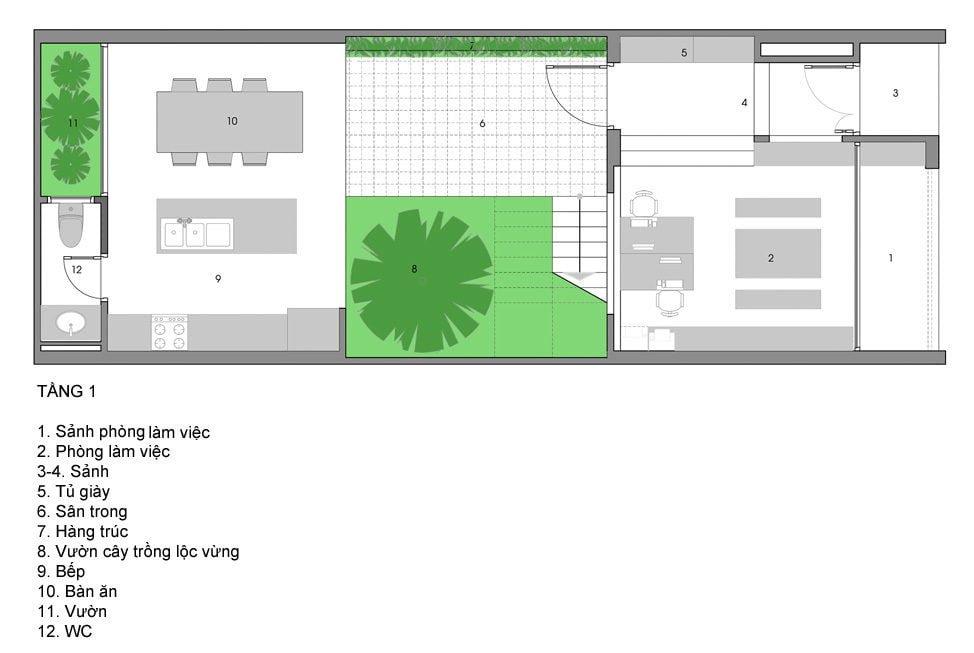 ngoi nha o sai gon 13 Ngôi nhà giữa nhà ở Sài Gòn thoáng đãng với vườn cây qpdesign