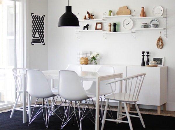 18 thiết kế phòng ăn phong cách theo tông màu trắng - đen