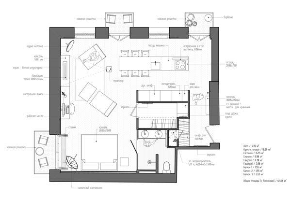 1330 Căn hộ một phòng ngủ với thiết kế lôi cuốn tại Nga qpdesign