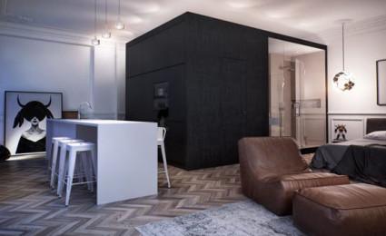 Căn hộ một phòng ngủ với thiết kế lôi cuốn tại Nga