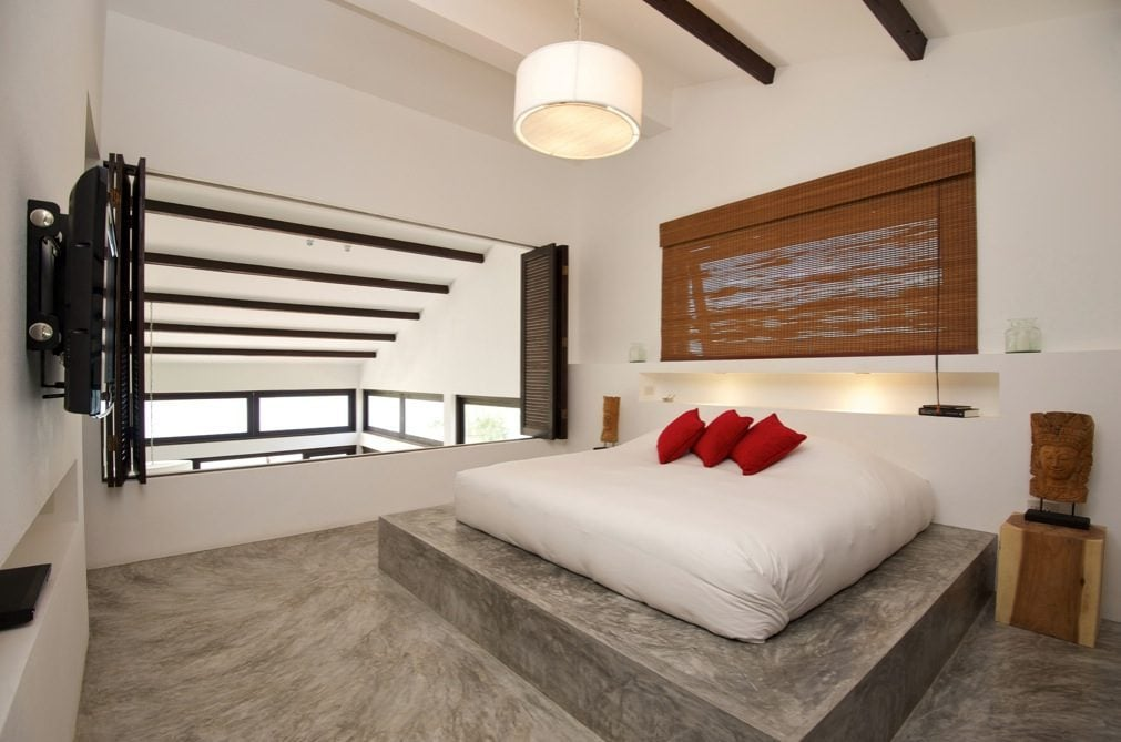 13Black-white-red-bed-bedroom-conrete-floor