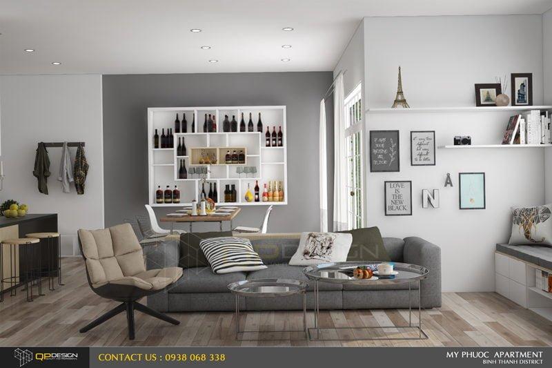 162 Thiết kế nội thất căn hộ chung cư Mỹ Phước 85m2 qpdesign