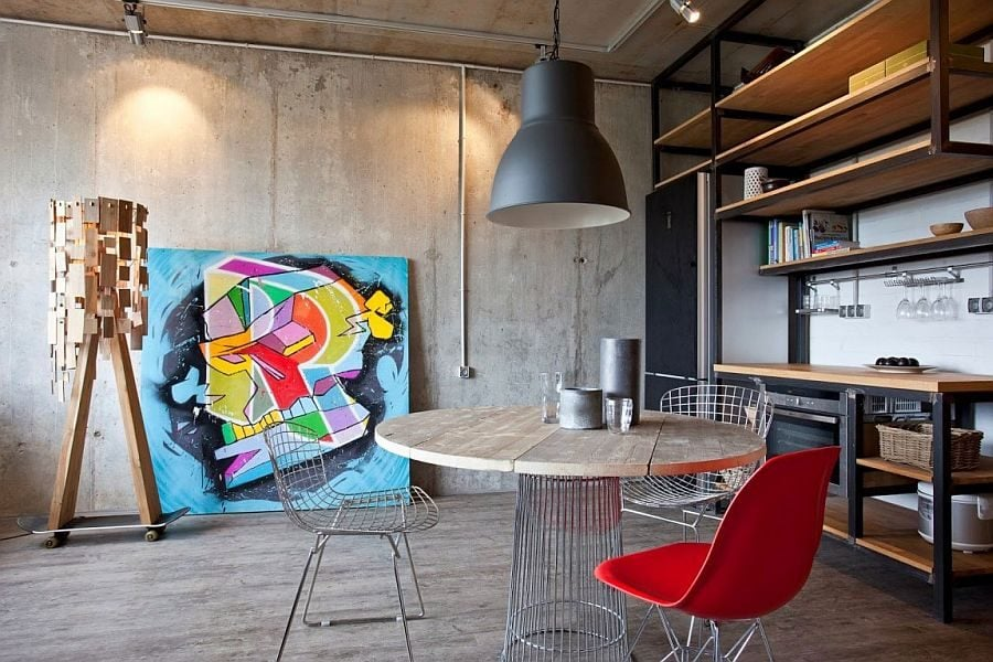 1Stylish-studio-apartment-living-room-with-exposed-concrete-wall