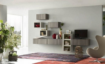 Phòng khách đầy phong cách với 11 mẫu kệ treo tường