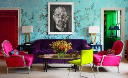 Nổi bật với ý tưởng màu neon cho phòng khách