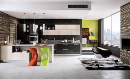 Phòng bếp đẹp lung linh với ghế sắc màu