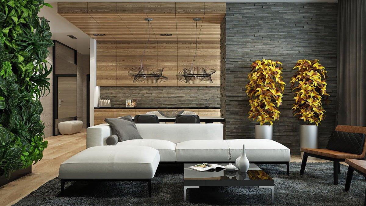 152wood and stone living room Kết cấu hoàn hảo cho những bức tường phòng khách qpdesign