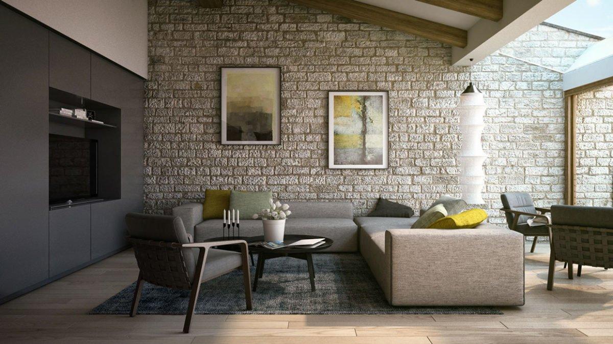 1stone themed living room Kết cấu hoàn hảo cho những bức tường phòng khách qpdesign