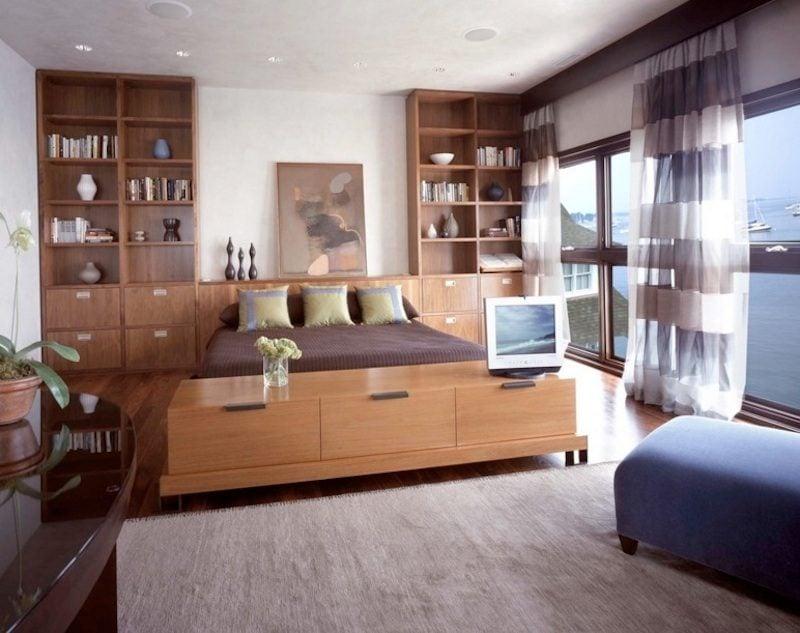 2built in storage1 Ý tưởng biến phòng ngủ gia chủ thêm tiện nghi và cá tính qpdesign