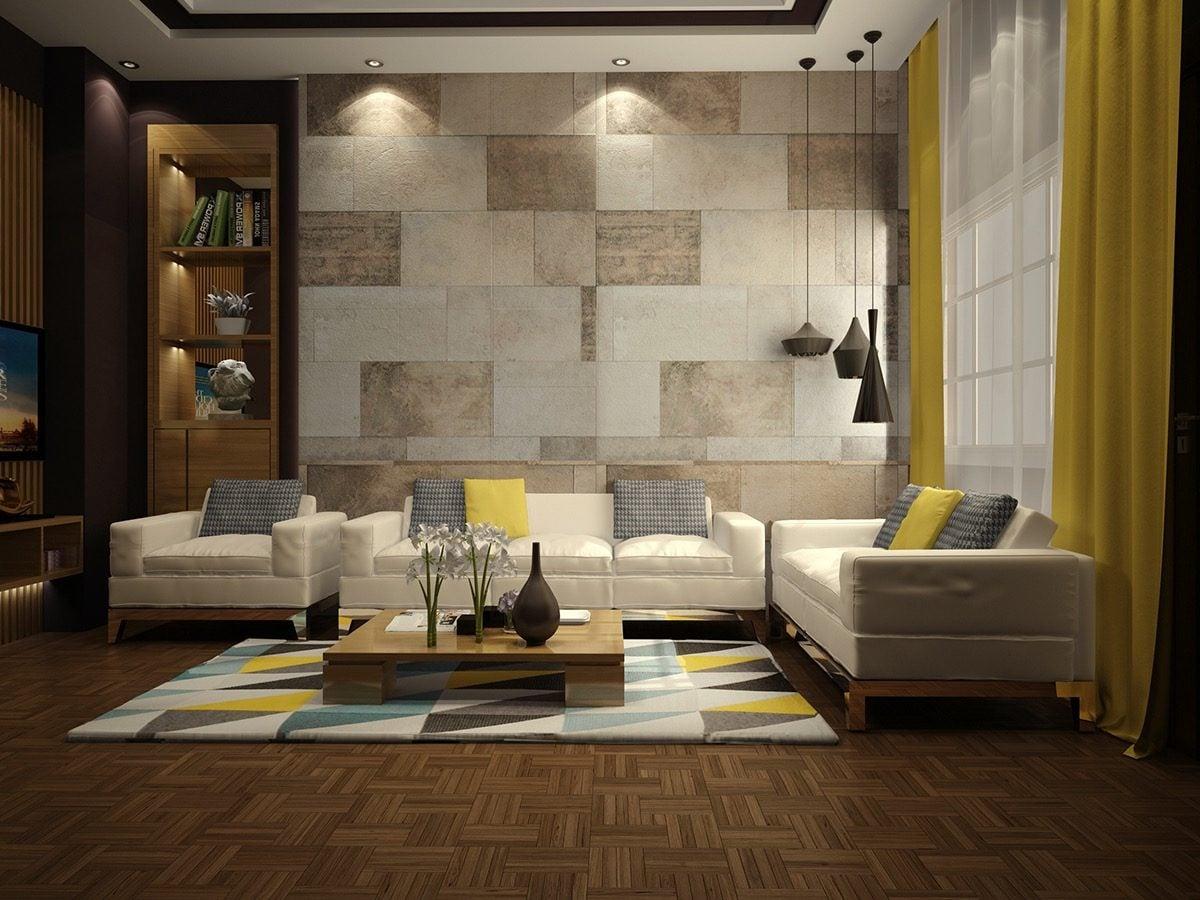 2tiled living room walls Kết cấu hoàn hảo cho những bức tường phòng khách qpdesign