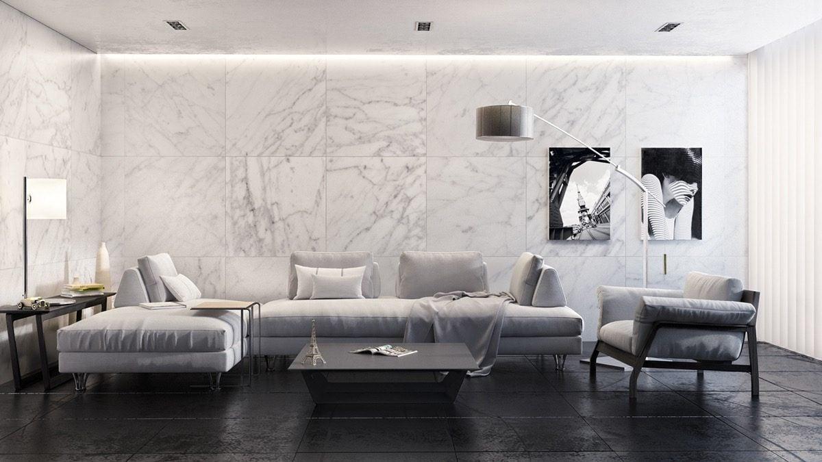 3monochrome marble living room Kết cấu hoàn hảo cho những bức tường phòng khách qpdesign
