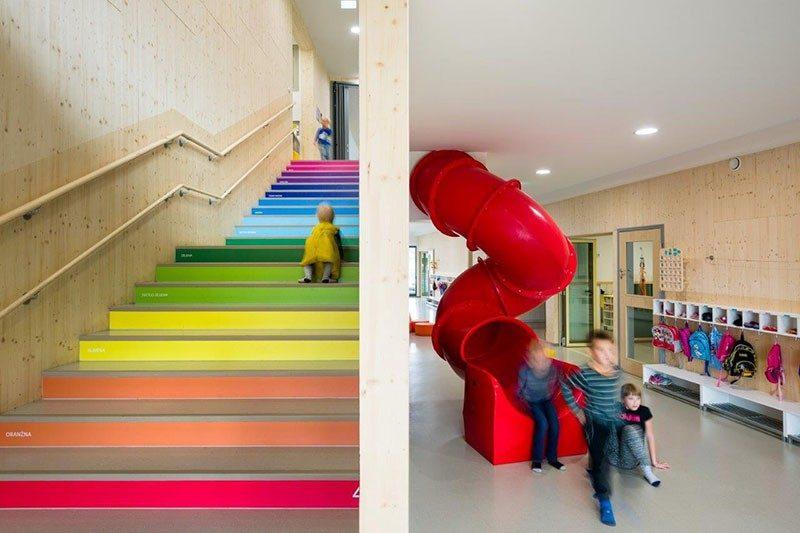 Giúp trẻ học đếm bằng những con số trên bậc cầu thang