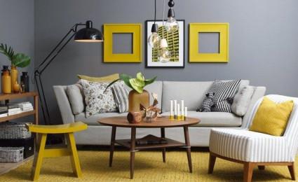Phòng khách hiện đại sang trọng với bộ đôi vàng – xám