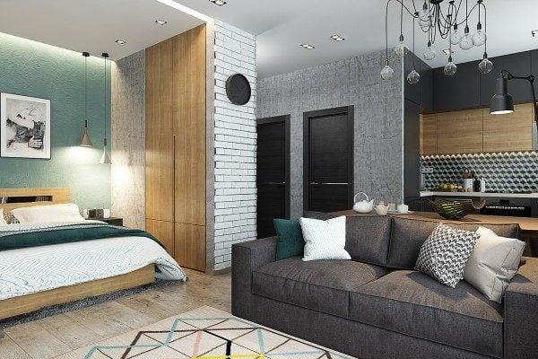 9turquoise interior design 600x400 Câu chuyện thiết kế của những căn hộ dưới 50m2 qpdesign
