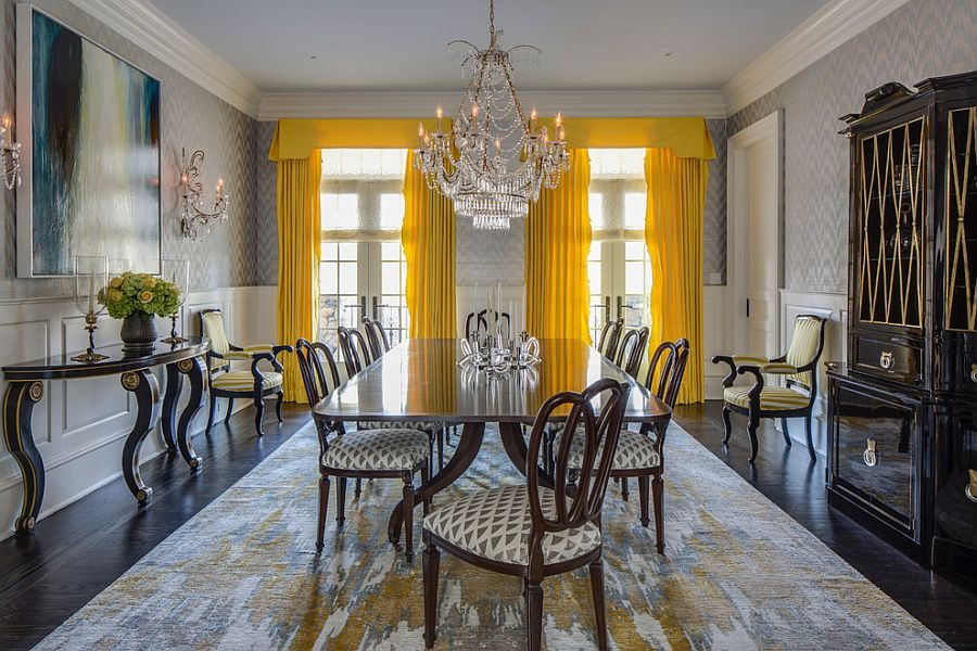 Bright-yellow-drapes-make-a-bold-statement-in-the-all-gray-dining-room