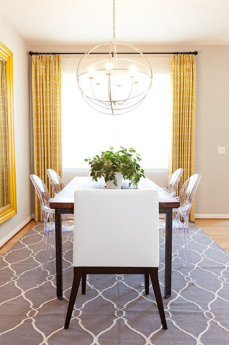 Drapes-and-rug-add-yellow-and-gray-to-the-neutral-dining-room