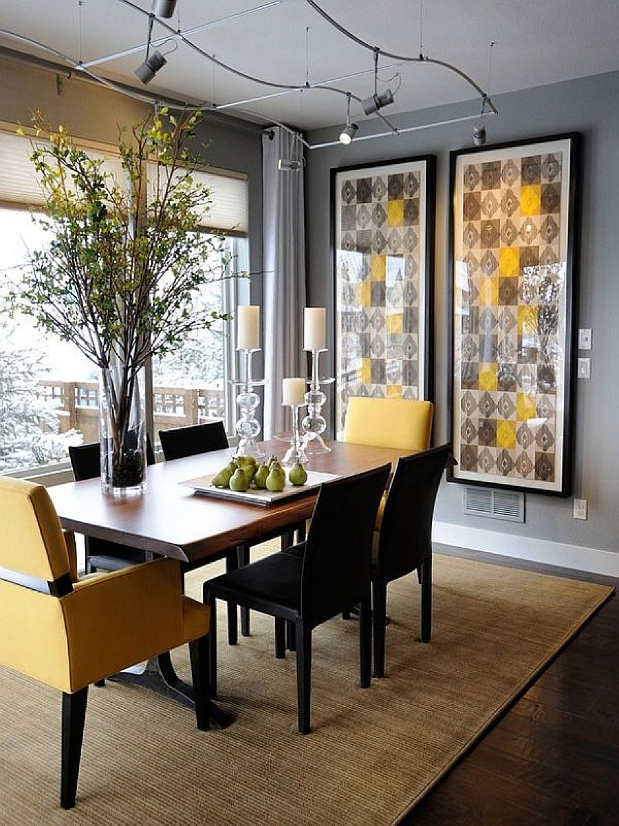 Exquisite-modern-dining-room-in-gray-with-pops-of-yellow-that-bring-liveliness
