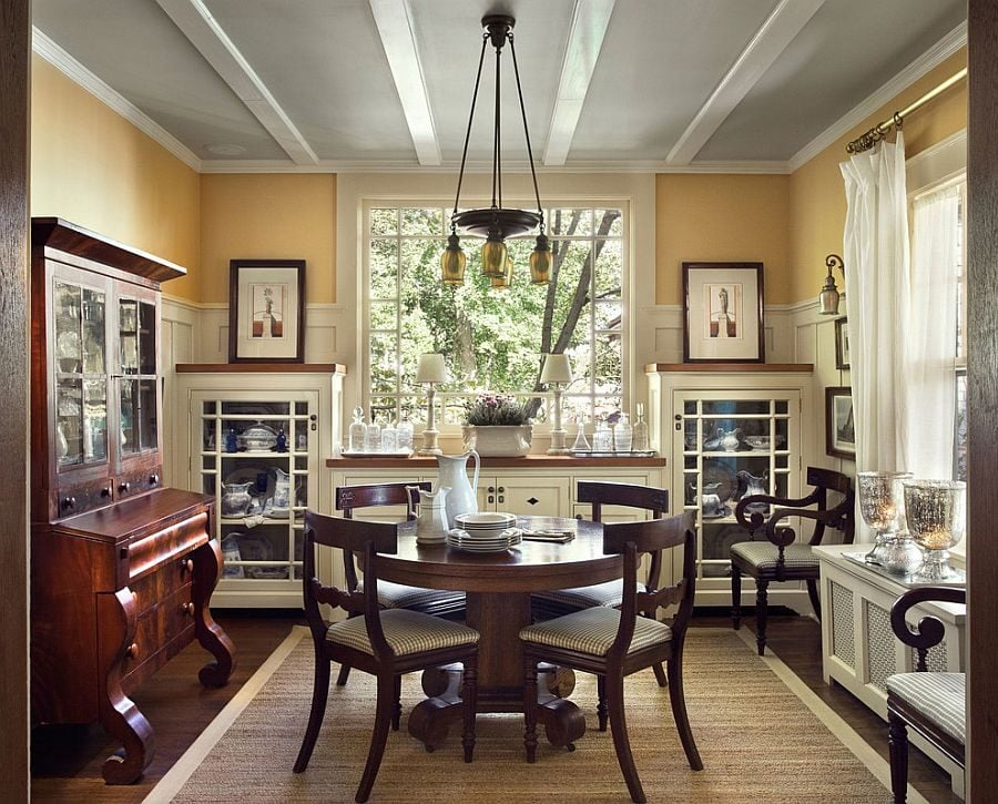 Gray-ceiling-gives-a-unique-look-to-the-transitional-dining-room