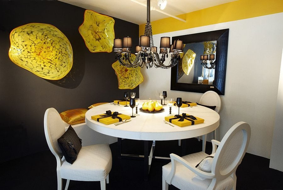 Ingenious-wall-art-adds-bright-splashes-of-yellow-to-the-gray-dining-room