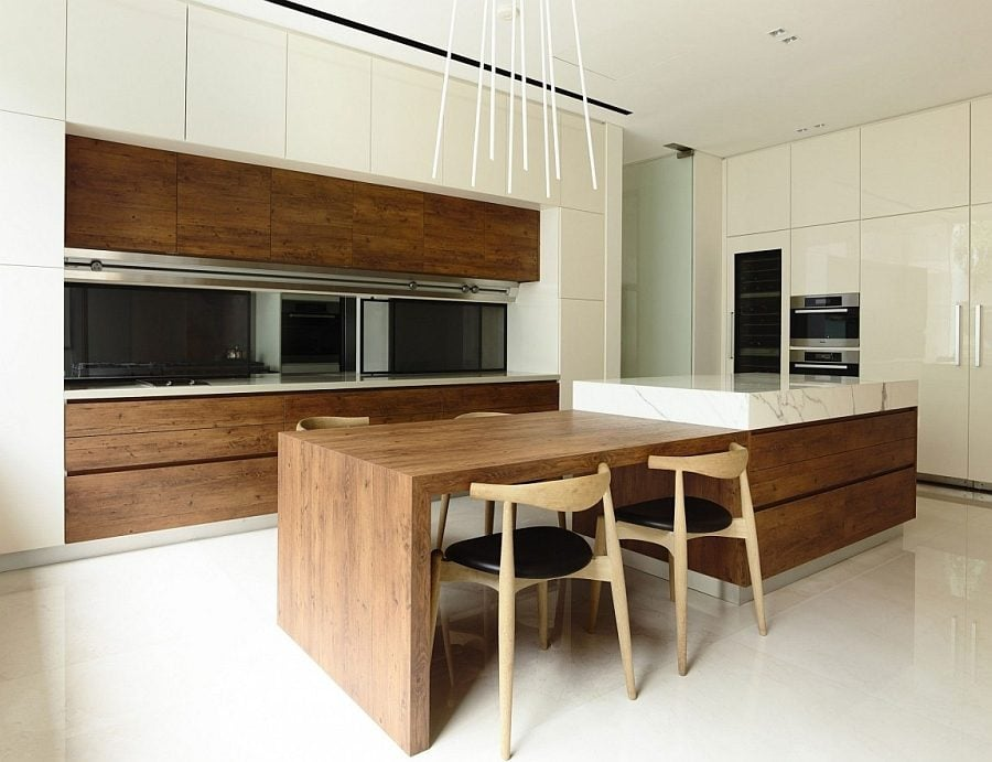 Minimal-modern-kitchen-and-dining-area-with-warmth-of-natural-wood