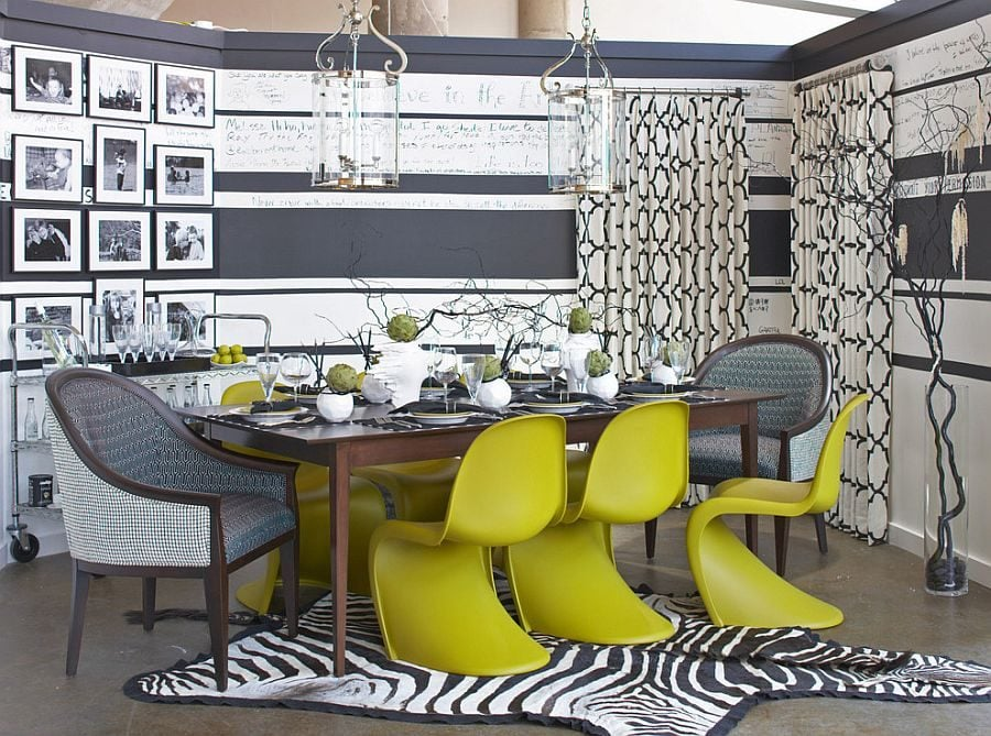 Panton-Chair-adds-color-and-cheerfulness-to-the-gray-dining-room