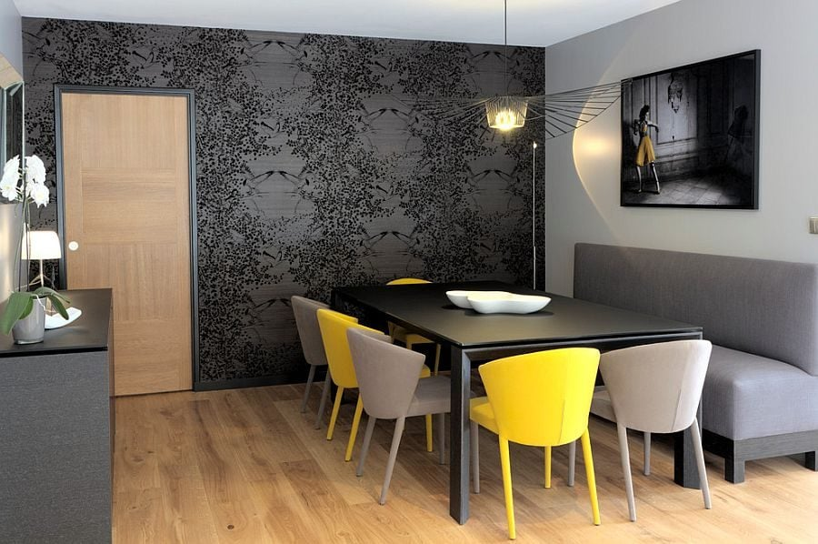Refined-contemporary-dining-room-in-gray-with-a-dash-of-yellow-2